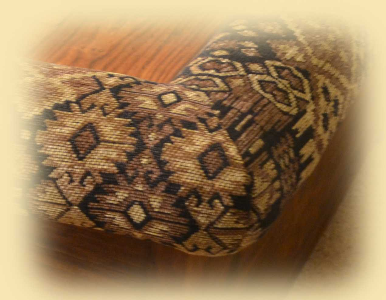 Corner of Padable Coffee Table in Rigoletto Kilim Style Fabrics